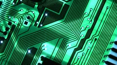 computer motherboard on a gleam - stock footage