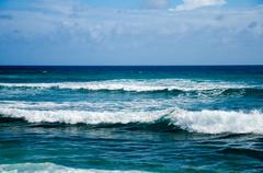 View of Blue Ocean Waves - stock photo