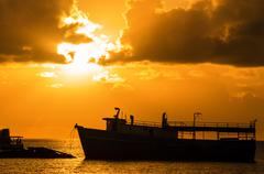 Sunrise over the Caribbean Sea - stock photo