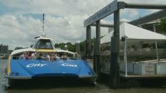 Brisbane CityCat docked, passengers leaving Stock Footage