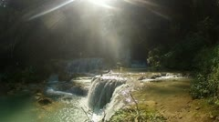 Sun and waterfall Stock Footage