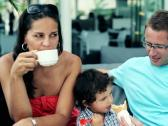 Happy family sitting in the restaurant, outdoor Stock Footage