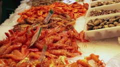 Seafood in market Barcelona Spain Stock Footage