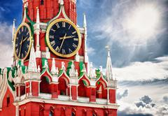 Spasskaya tower with clock. russia, red square, moscow Stock Illustration