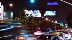 Time lapse of Hollywood boulevard traffic at night. Los Angeles - stock footage