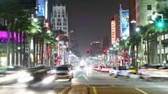 Timelapse of Hollywood boulevard traffic at night. LOS ANGELES - stock footage