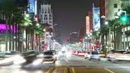 Stock Video Footage of Timelapse of Hollywood boulevard traffic at night. LOS ANGELES