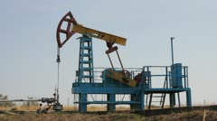 Old oil derrick in Crimea - stock footage