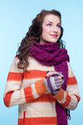 woman in winter dress - stock photo