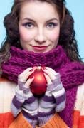woman with christmas ball - stock photo