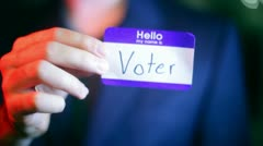 Voter name tag Stock Footage