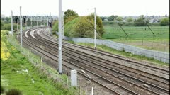 Four track electrified main line in England no trains Stock Footage