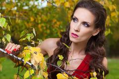 Stock Photo of a beautiful brunette in red dress