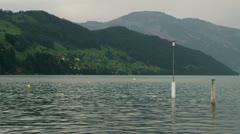 Water shore in Swiss Alps Stock Footage