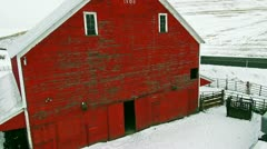 A nice smooth aerial of a red barn from 1908 Stock Footage