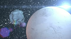 asteroid near planet - stock footage