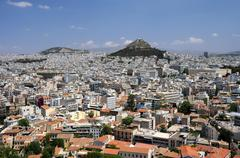 view of lycabettus hill in athens - stock photo