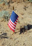 Us flag in the middle of nowhere Stock Photos
