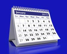 january 2013 calendar - stock illustration