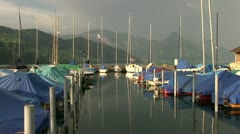 Boat dock in Switzerland mountains Stock Footage