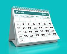 march 2013 calendar - stock illustration