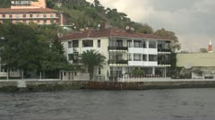 drive plate - Bosphorus Straits, luxury homes, fast dolly - stock footage