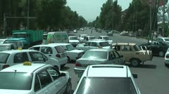 Traffic jam in Samarkand, Uzbekistan because traffic lights are off Stock Footage