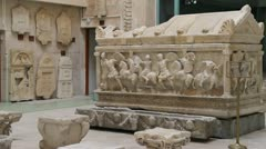Sarcophagus in Archeological museum - stock footage