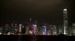View of Hong Kong Island at night from Kowloon on the other side. Stock Footage