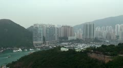Aberdeen Harbour & Ap Lei Chau Island, viewed from Ocean Park. Hong Kong. Stock Footage