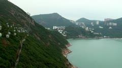 View of Ocean Park cable car & Deep Water Bay, Hong Kong. Stock Footage
