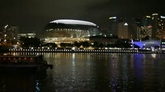 Singapore Esplanade performing art center at night Stock Footage