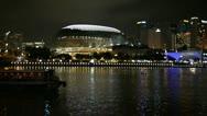 Singapore Esplanade performing art center at night Stock Footage