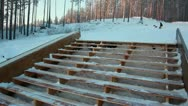 Stock Video Footage of Snowboarder sliding the rail
