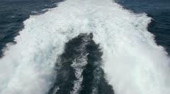 Waves behind fast motorboat Stock Footage