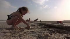 Littel grirl at dead sea nature spa Stock Footage