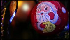 Christmas toy with Santa �laus hanged on a New Year Tree - stock footage