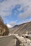 section of the georgian military road  in winter - stock photo