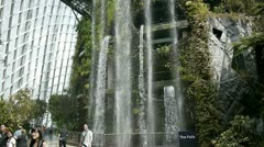 Man made water fall, garden by the bay, Singapore Stock Footage