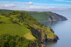 North Devon coastline near Lynton - stock photo