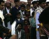 YEMEN ritual dance and people watching Stock Footage