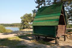 wood hut - stock photo
