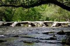 Tarr Steps medieval bridge Exmoor Somerset England - stock photo
