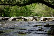 Stock Photo of Tarr Steps medieval bridge Exmoor Somerset England