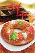Stock Photo of roscon de reyes, spanish three kings cake