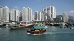 small junk boat near aberdeen hong kong - stock footage
