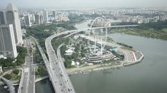 Singapore flyer by marina bay Stock Footage