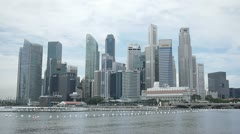 Financial district buildings marina bay Singapore Stock Footage