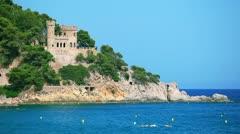 Castle in Lloret de Mar, Costa Brava, Spain Stock Footage