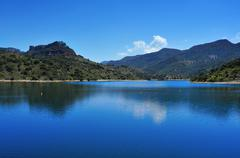 siurana reservoir in tarragona province, spain - stock photo